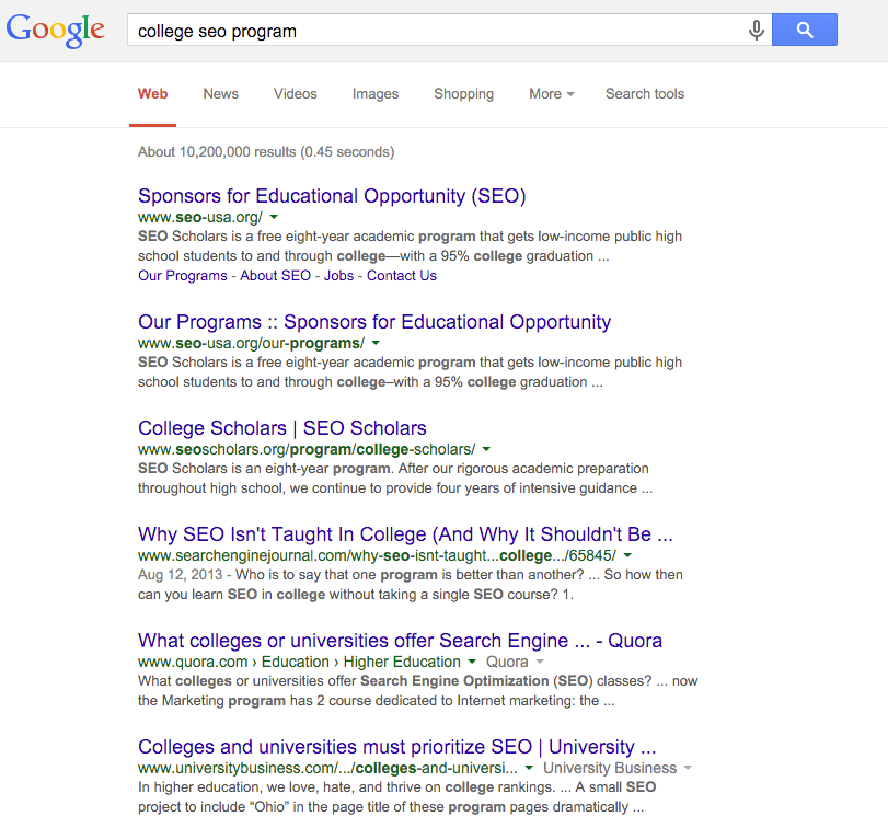 College SEO Program Search Result